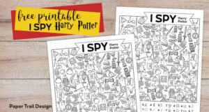 Harry Potter themed I spy activity page with text overlay- free printable I Spy Harry Potter