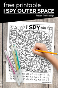 Outer space kids activity page with text overlay- free printable I spy outer space