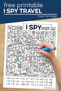 I spy travel and transport kids activity page with text overlay- free printable I spy travel