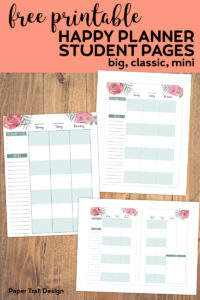 Happy planner student pages to record weekly tests and homework with text overlay - free printable happy planner student pages, big, classic, mini