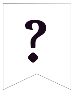 Free Printable Black and White Pennant Banner question mark.