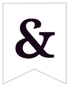 Free Printable Black and White Pennant Banner & ampersand sign.