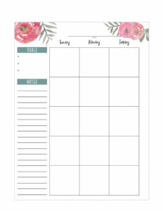 Floral Happy Planner calendar page in classic size. Left page Sunday, Monday Tuesday and notes.