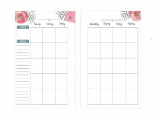 Floral Happy Planner calendar page in mini size. Left and right pages including goals, notes, and Sunday through Saturday.