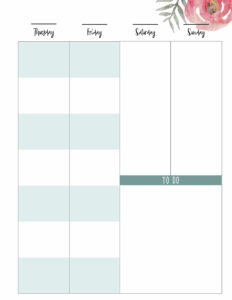 Right student happy planner page Thursday, Friday, Staurday, Sunday with to do space in big size.