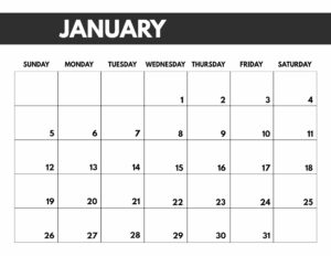 January 2020 Free Monthly Calendar Template in 8.5x11, big happy planner size.