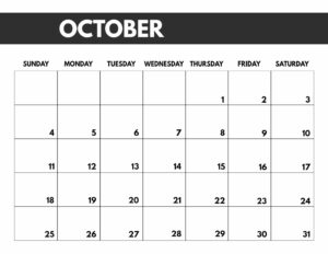 October 2020 Free Monthly Calendar Template in 8.5x11, big happy planner size.