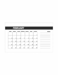 February 2020 Free Monthly Calendar Template in mini happy planner size.