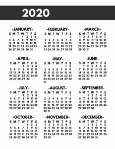 2020 Printable One Page Year at a Glance Calendar in bold font in 8.5x11 size.