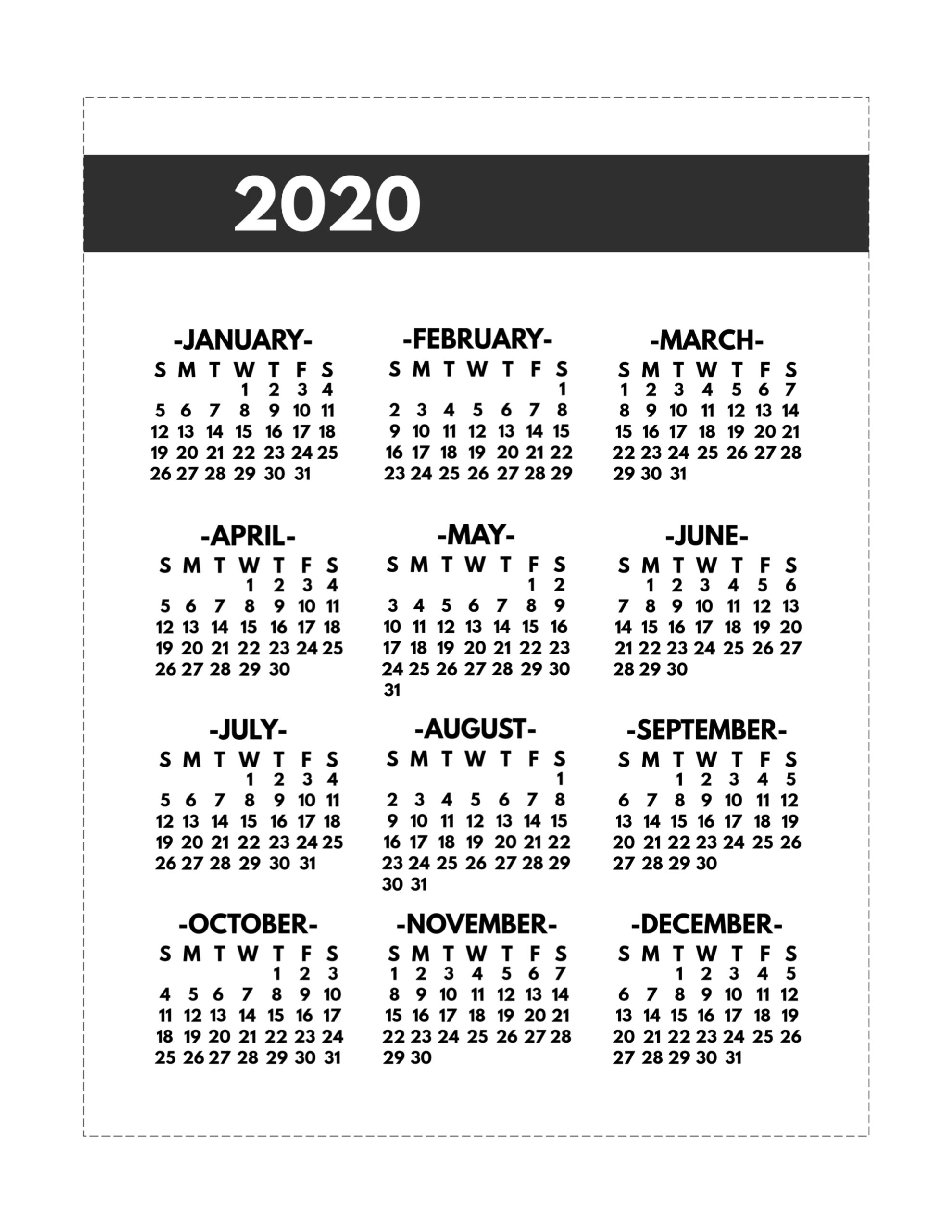 2020 printable one page year at a glance calendar