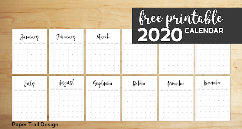January 2020 through December 2020 minimalist vertical calendar pages with text overlay- free printable 2020 calendar