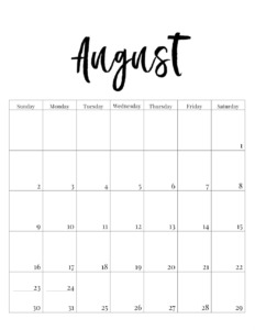 August 2020 vertical minimalist calendar