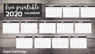 January through December calendar pages with text overlay- free printable 2020 calendar