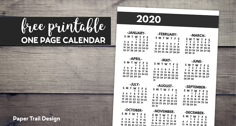 2020 year at a glacne one page yearly calendar in bold font with text overlay- free printable one page calendar.