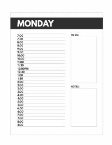 Classic size Monday schedule planner pages