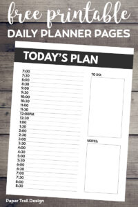 Today's Plan daily schedule planner page with text overlay- free printable daily planner pages.