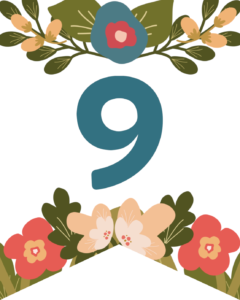 NUmber Nine Flower Alphabet Banner Letters Free Printable