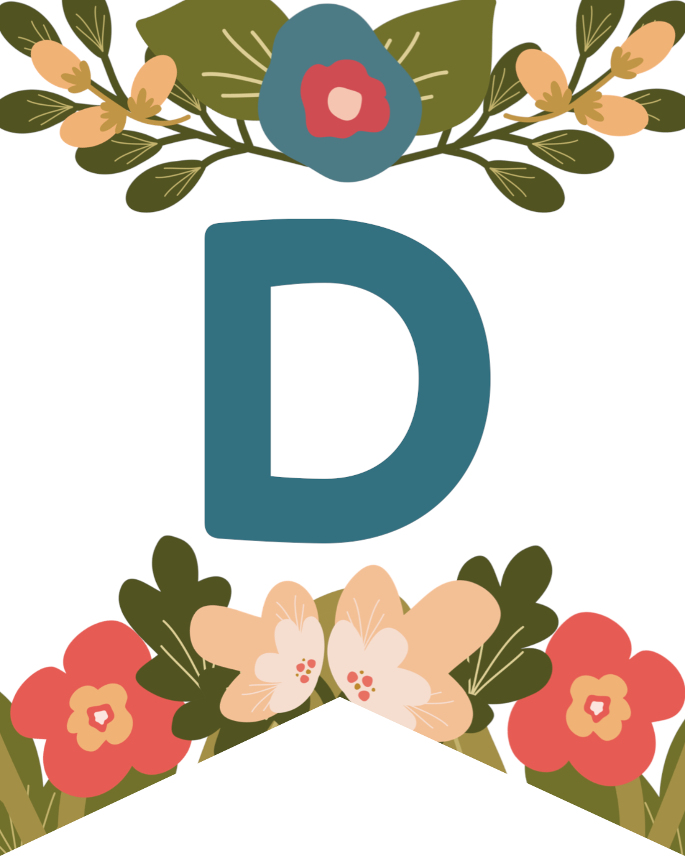 Flower Alphabet Banner Letters Free Printable Paper Trail Design