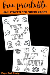 Trick or Treat and Happy Halloween coloring pages with text overlay- free printable Halloween coloring pages