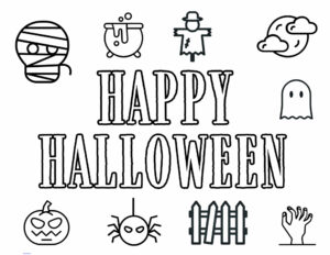 Happy Halloween coloring page with fun Halloween images