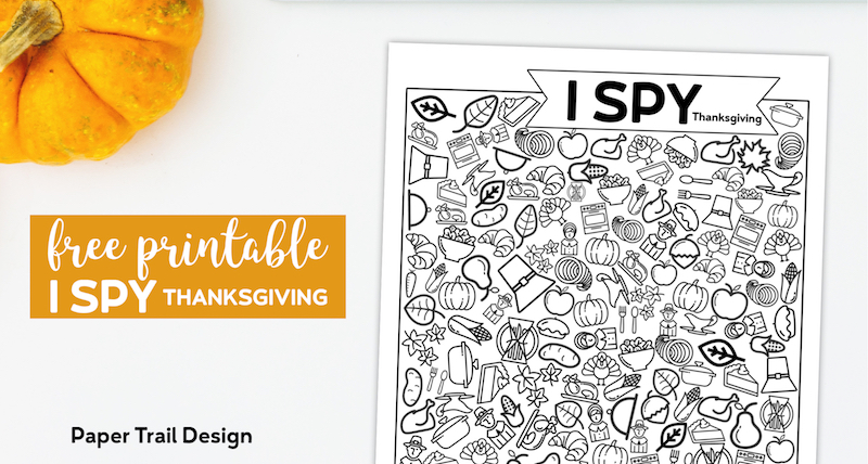 I spy game with line icons to find and a pumpkin with text overlay-free printable I Spy Thanksgiving