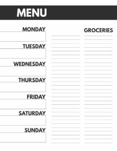 8.5x11 Meal Plan printable from Monday to Sunday with a grocery list.