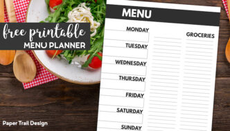 Menu plan from Monday through Sunday with a space to write groceries sitting on a salad with text overlay- Free printable menu planner