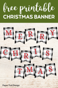 Plaid Merry Christmas banner with red letters with text overlay- free printable Christmas banner