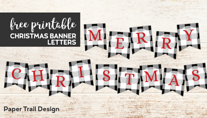 Plaid Merry Christmas banner with red letters with text overlay- free printable Christmas banner letters