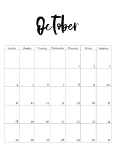 October 2020 vertical minimalist calendar