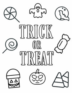 Trick or Treat coloring page with candy and Halloween pictures