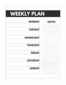 Classic size happy planner weekly planner with Monday through Sunday and a place for notes.
