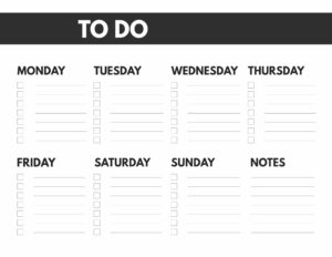 8.5x11 or big happy planner size free printable weekly to do list from Monday to Sunday with notes