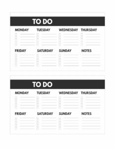 Mini happy planner size free printable weekly to do list from Monday to Sunday with notes
