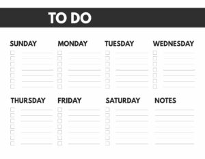 8.5x11 or big happy planner size free printable weekly to do list from Sunday to Saturday with notes