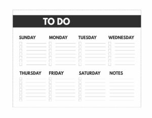 Classic happy planner size free printable weekly to do list from Sunday to Saturday with notes