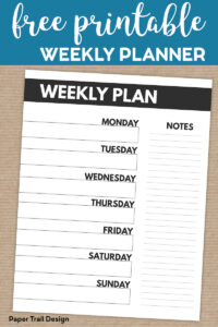 Weekly Plan Planner page with text overlay-free printable weekly planner
