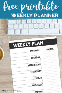 Weekly Plan Planner page next to computer and coffee, with text overlay-free printable weekly planner