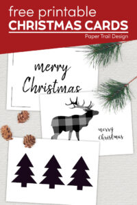 Merry Christmas cards with text overlay- free printable Christmas cards