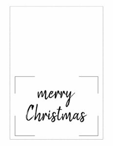 5x7 black and white Christmas card with merry Christmas message.
