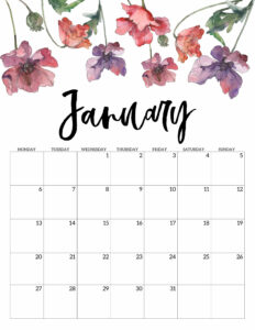 January 2020 Monday start floral page printable
