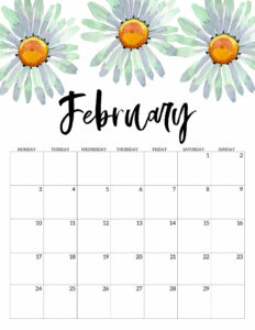 February 2020 Monday start floral page printable