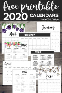 8 different 2020 calendars in separate boxes alongside text overlay- free printable 2020 calendars