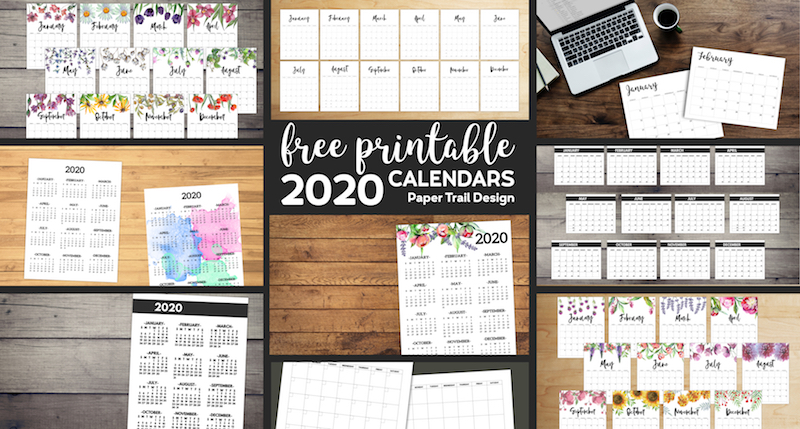 Free Printable 2020 Calendars 12 Templates | Paper Trail Design