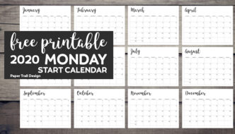 2020 Calendar pages January, February, March, April, May, June, July, August, September, October, November, and December with text overlay- free printable 2020 Monday Start Calendar