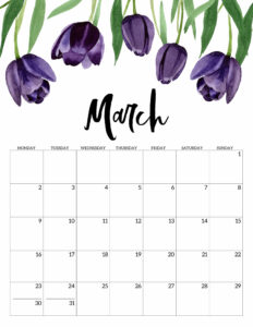 March 2020 Monday start floral page printable