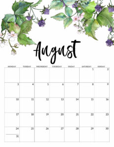 August 2020 Monday start floral page printable
