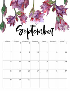 September 2020 Monday start floral page printable