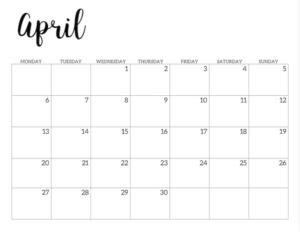 Free Printable 2020 April Calendar - Monday Start.