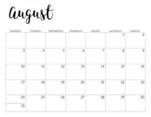 Free Printable 2020 August Calendar - Monday Start.